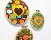 Clearance Fabric Wall Art, Retro Earth, Bubbles of Love, Embroidery Hoop Hearts, Gifts for Mom, Wall Art, Brown Orange Avocado