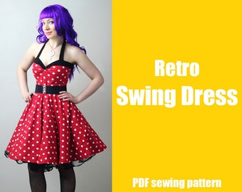 Rockabilly Retro Swing Dress - Printable PDF Pattern