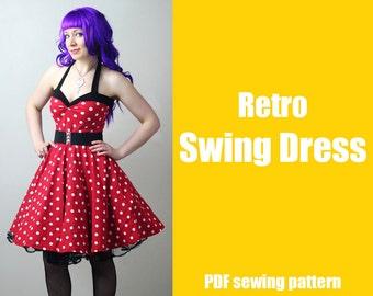 Rockabilly Retro Swing Dress - Printable PDF Pattern
