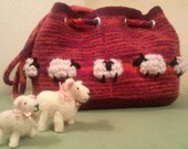 """Hand Knit and Felted """"Sheep in the Meadow Felted Satchel"""""""