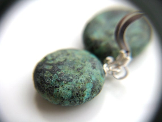 Genuine Turquoise Jewelry . Sterling Silver Turquoise Earrings . Real Turquoise Jewelry . African Turquoise Earrings - Corinth Collection