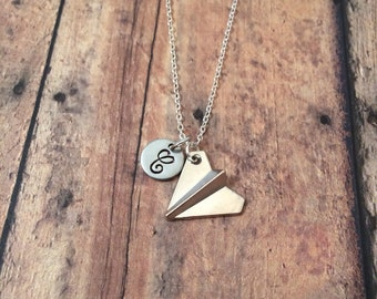 Paper airplane initial necklace - airplane necklace, teacher necklace, gift for teacher, paper plane necklace, paper airplane jewelry