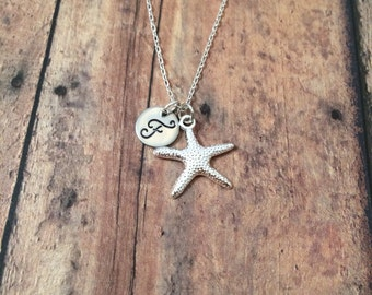 Starfish initial necklace - starfish jewelry, beach necklace, ocean jewelry, sea necklace, beach jewelry, silver starfish necklace