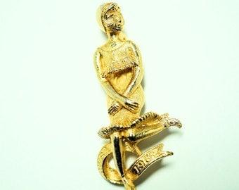 Vintage Jewelry, CWBA Flapper Brooch, Dancing Flapper Pin 1966 Charleston