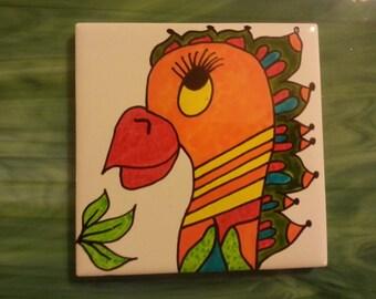 Mosaic Tile OOAK Crazy PARROT BIRD #5 hp Hand painted Ceramic Mosaic Tiles