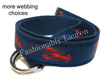 Lobster Canvas Belt / Nautical D-ring Belt for  Boys and Teens / Preppy Khaki Belt /Red Lobster Belt / Navy Blue Belt / Ribbon Belt