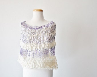 Hand Knit Cape/ Cowl. Ice Princess. Hand Knit Super Chunky Cape Poncho Cowl Wrap in Merino Wool and Linen. Purple & White. Soft Wrap.