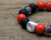 Natural Coral Onyx Boho Beaded Bracelet Luxe Lampwork Boutique Wearable Art All Season Matte Black and Coral