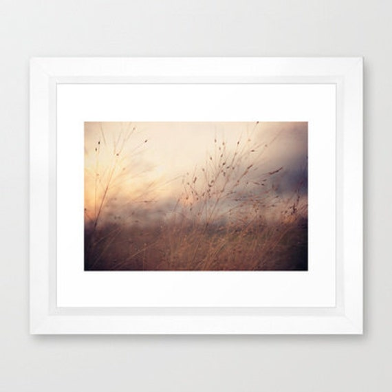 nature photography- autumn photography- sunset- brown blue orange- wall decor- fine art photograph- wall art