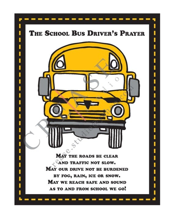 Bus Driver's Prayer 8x10 printable instant