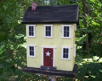 Primitive Birdhouse Salt Box Framed Window Yellow Black