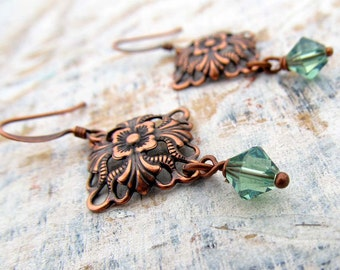 Soft Green and Copper earrings / copper jewelry