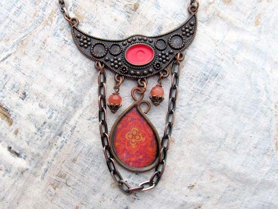 red Bohemian necklace Ethnic statement necklace  bib necklace Bohemian Jewelry