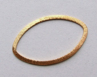 26mm Large Oval Shaped Bali Bright 24k Gold Vermeil Brushed Line Texture Loop Connector Eternity Rings Links (2 beads)