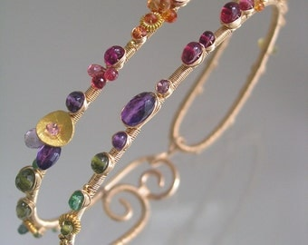 Gemstone Sculptural Bracelet, Colorful Gemstone Bangle, Cosmopolitan Jewelry, Sapphire Clusters, Amethyst, Original Design, Made to Order
