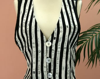 Reversible Black and White Striped/Print Vest Large Buttons Handwriting Embellishment Size L