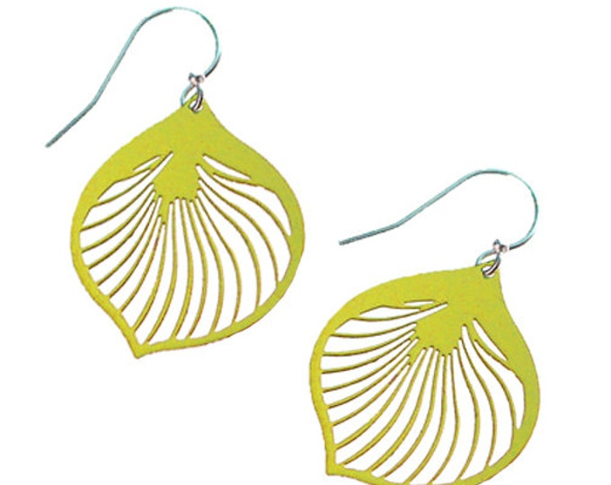 Enameled Ginkgo Leaf Earrings in Lime Green