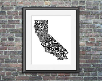 California typography map art print 8x10 customizable state poster personalized wedding engagement graduation gift anniversary wall decor