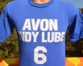 80s vintage t-shirt avon INDY LUBE auto racing blue #6 tee Small 90s funny