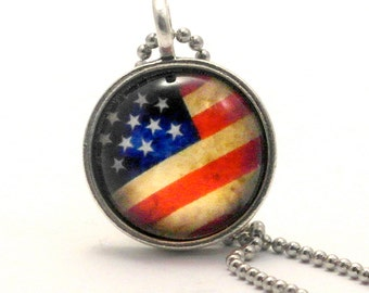 Old Glory American Flag Sterling Silver Plate Necklace