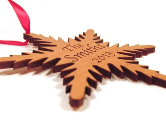 Personalized Snowflake Ornament - Wooden Christmas Ornament