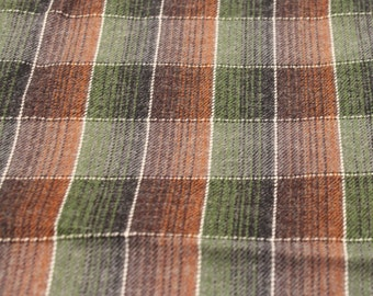 Wool Lightweight Vintage Fabric - 2 3/4 Yards - Plaid Wool / Brown Taupe Plaid / Plaid Fabric / Vintage Plaid / Vintage Wool Plaid