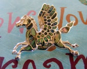 Pegasus Winged Horse, Abalone, Solid 925 Sterling Silver Pendant