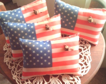 Primitive Americana  Mini Pillows Ornies Set of 4