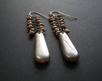 Long Rustic Earrings - Glass Bead Cascade - Grapes - Mixed Metal Earrings - Statement Boho Jewelry - Gold Silver Toned - Gift Best Friend