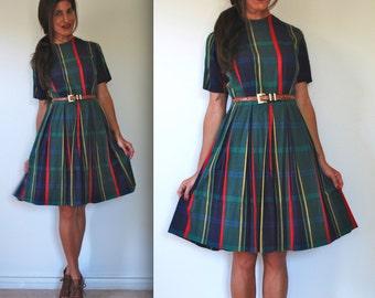 Vintage 50s 60s Teachers Pet Green Plaid Shirt Dress (size medium)