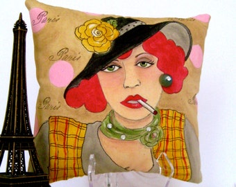 sale..EDITH PIAF PILLOW, Paris, hand painted pillow, novelty pillow, French woman,  quote, vintage button, gift Francophile, taupe, plaid
