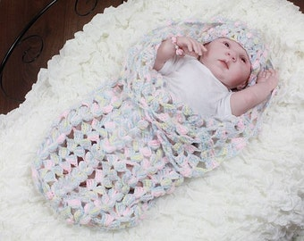 CROCHET PATTERN For Melody Baby Cocoon, Papoose & Hat PDF 167 Digital Download