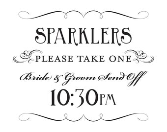 Sparkler Send Off Printable Sign 10:30pm Bride and Groom DIY Digital File PDF Do it Yourself 8x10 and 5x7