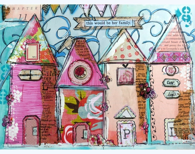 Art Print, Collage Work, Whimsical Houses,Her family