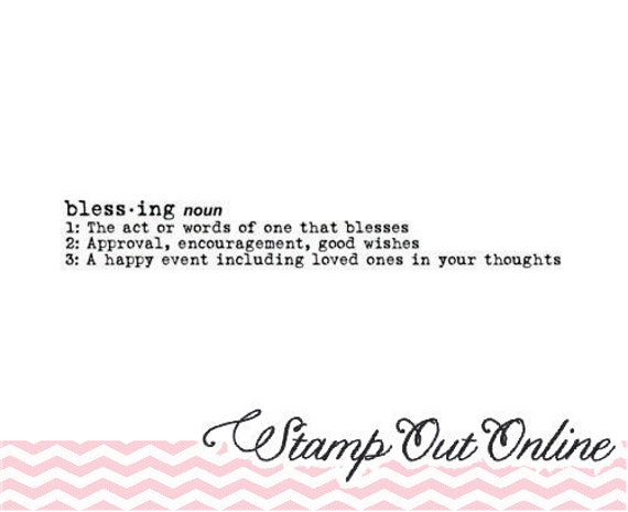 BLESSINGS description basic simple typewriter font rubber stamp clear mounted