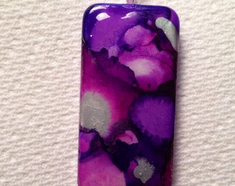 Purple and Silver Alcohol Ink Domino Pendant