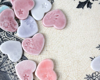 SALE 50 Pastel Mini Heart Wedding DIY Favours, bulk saving, porcelain, craft it yourself, soft and muted colours
