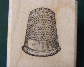 Thimble rubber stamp Wood Mounted P22