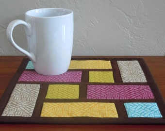 Color Blocks- Mug Rug/ Mini Quilt: Ready to Ship, snack mat, mug rug, mini quilt, housewarming gift, color blocks, brown