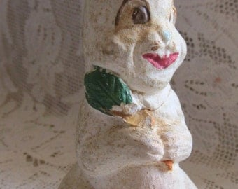 Antique Late 1800's Chalkware Easter Bunny, Collectible, For Repurpose