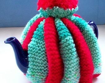 Pompom Tea Cosy fun retro knit vegan striped red green by SpinningStreak