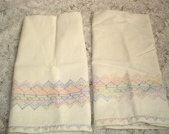 Vintage Kitchen Towels, Vintage Swedish  Huck Towels, Vintage Swedish Embroidered Towels, Pastel Embroidered towels
