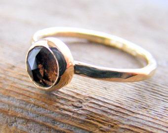 Smokey Quartz Gold Stacking Ring, Smoky Quartz Chocolate Brown Gemstone, Gold Wedding or Engagement or Birthstone Jewelry, Handcrafted
