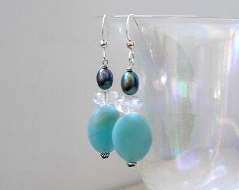 Amazonite Earrings Aqua Gemstones Beaded Boho Aquamarine Freshwater Pearls Sterling Silver