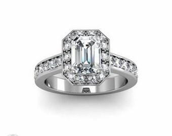 Moissanite Engagement Ring 14K Emerald Diamond Halo Forever Brilliant Moissanite Ring Conflict Free Custom Bridal Set