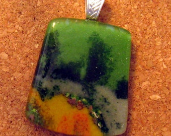 Green Fused Glass Pendant - Fused Glass Jewelry - Glass Jewelry - Stone Look Pendant - Frit Pendant - Fused Glass Necklace