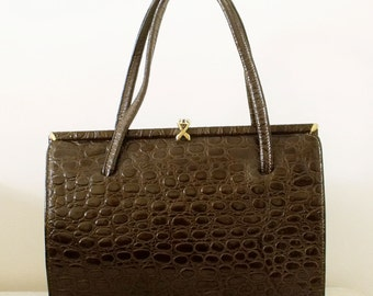 Vintage 50s Brown leather Croco style handbag England