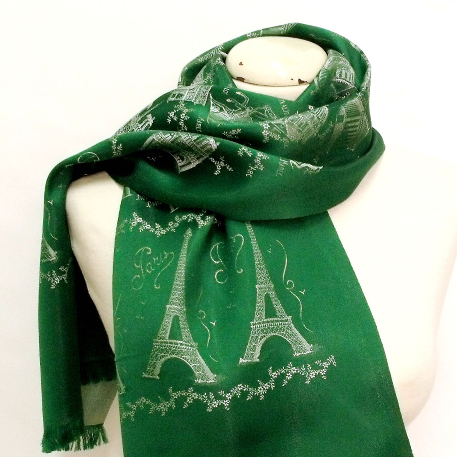 Vintage paris france green satin scarf haute juice - Little green paris ...