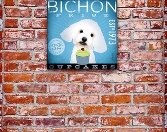 BICHON FRISE cupcake Company original graphic art on gallery wrapped canvas by stephen fowler