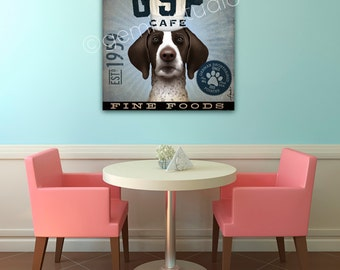 German Shorthaired Pointer GSP Dog Cafe Company graphic illustration on gallery wrapped canvas by Stephen Fowler